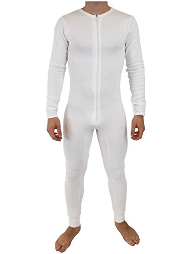 NDS Wear Mens Stretch Thermal Cotton Union Suit White Large