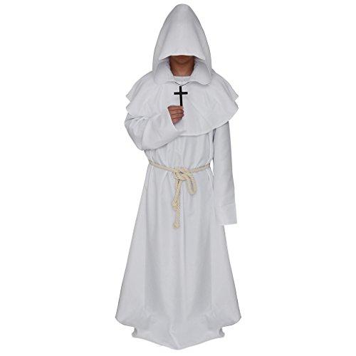joyMerit Fraile Medieval Monje con Capucha Renacimiento Sacerdote Bata Capa Capa para Vestido Elegante Disfraz de Halloween Cosplay - Blanco, S