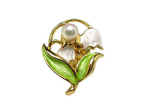 イソワパール アコヤ真珠 タイニーピン 4-5mm ホワイトピンク スズラン 真鍮 55421 pearl
