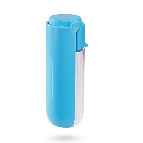 Dociote Hunde Trinkflasche Wasserflasche, 420ml Auslaufsicher Faltbare Tragbare Haustier Katzen Trinkflasche, Hundetrinkflasche für Unterwegs Reise Wandern Blau