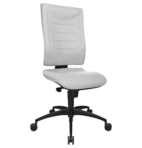 SCHÄFER SHOP Bürostuhl ohne Armlehnen – Ergonomischer Schreibtischstuhl Drehstuhl Chefsessel mit Synchronmechanik, Lordosenstütze & Knierolle, höhenverstellbar - SSI Proline P1 - grau
