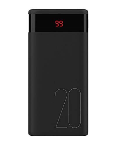 Lfny-bag Power Banks, 20000 Mah Carga De Carga Rápida Bidireccional Treasure Fast Dual USB Carga De Velocidad De Pantalla Digital, para iPhone Samsung Y Más,Negro