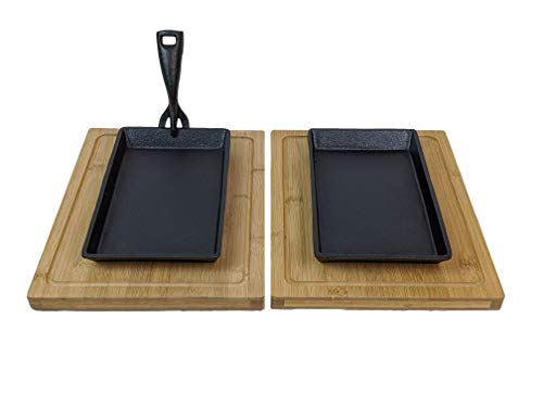 Sizzler Cast Iron Steak Skillet Serving Plate + Wooden Board 2 Set
