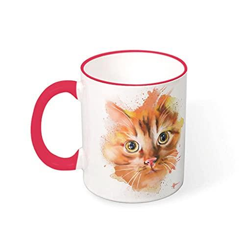 OwlOwlfan Taza de cerámica de color cara de gato de tinta personalizada taza de café con mango para café bar festival de cumpleaños regalo para familiares amigos rojo 1 330 ml