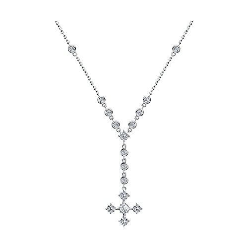 Mirkada - Collar de plata para mujer con circonitas, color blanco