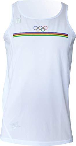 Ekeko Camiseta OLIMPICA Vintage, Camiseta Vintage Escudo OLIMPICO, Running, Atletismo y Deportes de Playa, Camiseta Tecnica Transpirable Color Blanco