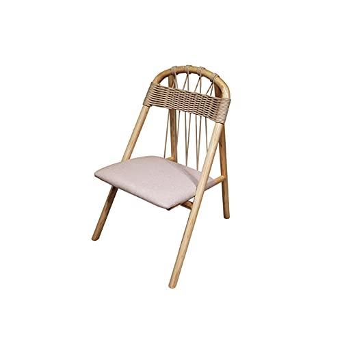 HFVDA Silla de Madera Maciza, sillón cómodo, Respaldo Trenzado de Cuerda, cojín de Tela, sillón de balcón, Silla de salón Sofá (Color : A)