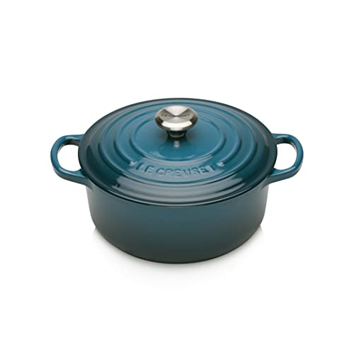 Le Creuset Evolution Cocotte de hierro fundido con tapa, Redonda, Pomo de acero inoxidable, ⌀ 20 cm, 2,4 L, Azul Deep Teal,21177206422430