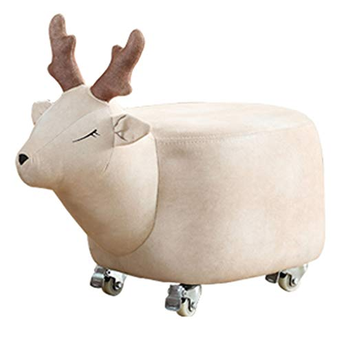 TIYKI Cuero Reposapiés Animal con Ruedas,Lindo Shape Ottoman Footstool Tapizado,Asiento De Sofá Acogedor para La Sala De Estar-B 62x32x30cm(24x13x12inch)