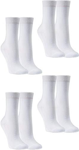 RS. Harmony   Socken mit Wellness Frottee-Sohle   Strumpf aus Baumwolle für Damen & Herren   4 Paar   Farbe weiß   Größe 39-42