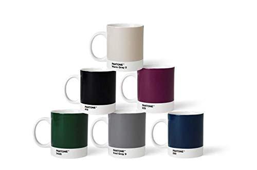Pantone 6 Kaffeetassen mit Henkel Porzellan Becher 6er Set, Naturfarben, 375ml