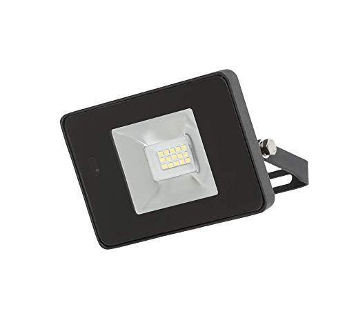 Knightsbridge FLF 230 V IP65 10 W LED Schwarz Druckguss Flutlicht mit Mikrowellensensor 4000 K, aluminium