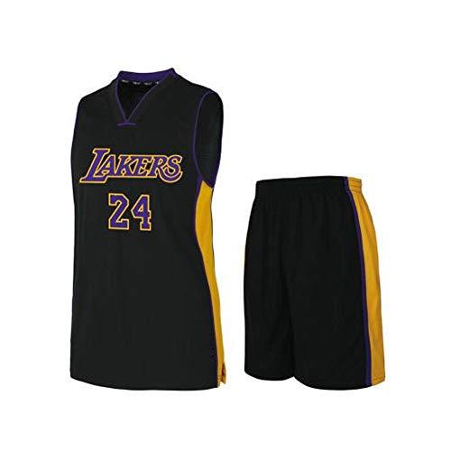 # 24 Kobe Lakers Basketballkleidung Anzug Jersey Anzug Weste T-Shirt Sportswear Fans Trainingskleidung Outfit Männer Teenager Jersey Shorts Anzug S-5XL-black-XXXXL