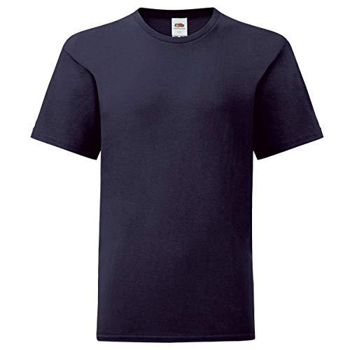 Fruit of the Loom Kids Iconic T-Shirt Größe 104-164, Farbe:deep Navy, Größe:152