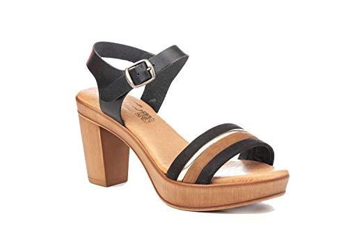 Sandalia Mujer de Piel Fabricados en España. Disponible Desde la Talla 36 hasta la Talla 41 - Finita Shoes Modelo F1234 Color Negro,Marron y Blanco.