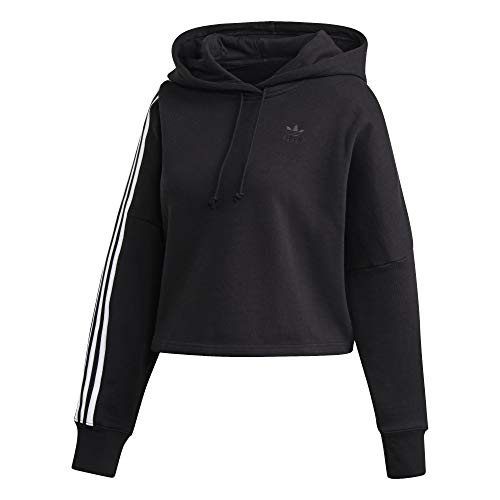 adidas Cropped - Sudadera con capucha para mujer blanco/negro 38