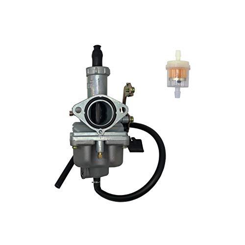 SHUmandala Carburetor with Fuel Filter PZ26 26MM Cable Choke for Honda CB125 XL125S TRX250 TRX250EX Recon, GY6 150cc ATV