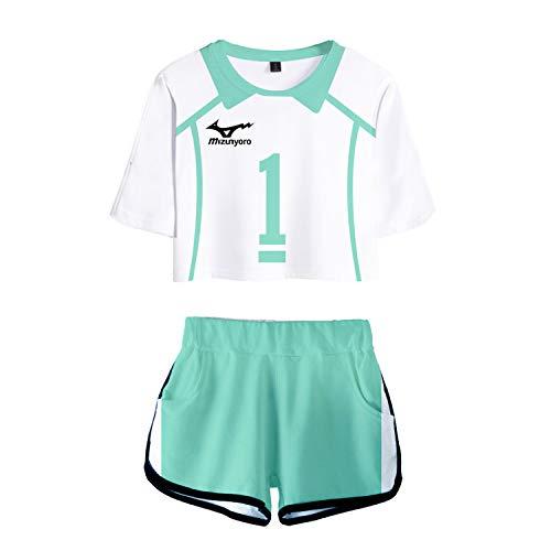 RENDONG Haikyuu T-Shirt Kurzarm Cosplay Kostüm 3D Druck Mit Shorts Cosplay Volleyball Sportwear Schuluniform 2Stk Set Cheerleading Uniform,Grün,3XL