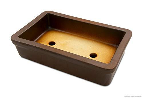 K&K Keramik Pot à bonsaï carré 29 x 18 x 7 cm résistant au gel marron mat