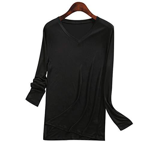 メンズ シルク VネックT 九分袖 インナーシャツ M L XL silk シルク100% メンズ 絹 下着 保温 敏感肌 低刺...