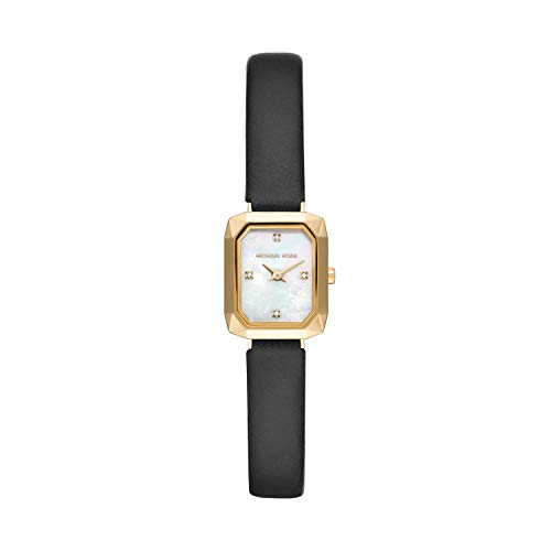Michael Kors Women's Alane Stainless Steel Quartz Watch with Leather Strap, Black, 10 (Model: MK2922)
