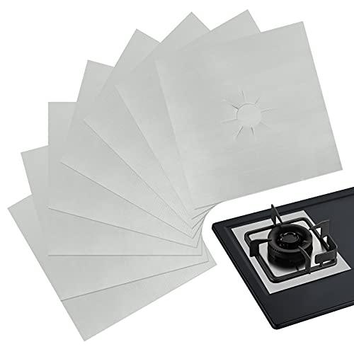 Hua Hao 8 Piezas Protectores Antiadherentes Estufa a Gas Tapete Protector Cocina de Gas Cubierta del Quemador Estufa Protector de Quemador-con Color Plata,27 x 27 cm