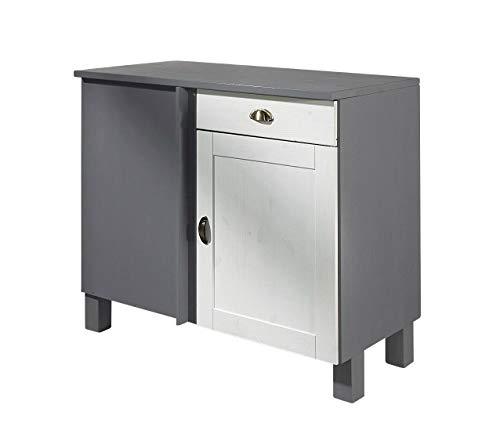 Loft24 Küchenunterschrank Küchenschrank Küche Unterschrank Schrank Kiefer massiv weiß grau 100 x 50 x 85 cm