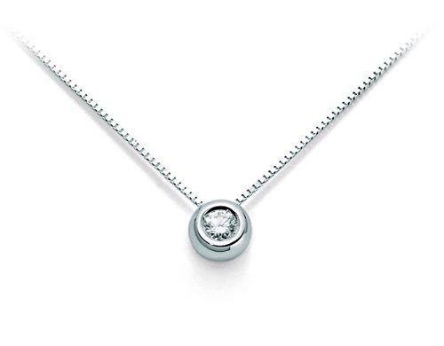 Catenina girocollo Punto Luce Roger Gems con Diamante Naturale IF 0.18ct in oro bianco 18kt