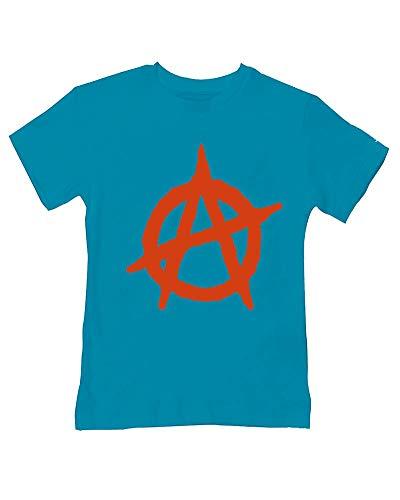 Camiseta antiestablecimiento con símbolo de anarquía, estilo para bebé/niño Turquesa turquesa 3-4 Años