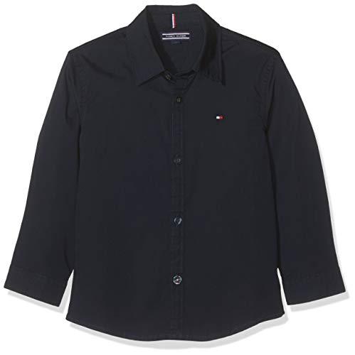 Tommy Hilfiger Jungen Boys Solid Stretch Poplin Shirt L/S Hemd, Blau (Sky Captain 420), 176 (Herstellergröße: 16)