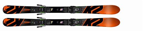 K2 Kinder Ski Indy FDT rot schwarz + Marker Bindung Fastrak M2 4.5/7.5 im Set, Größe:88
