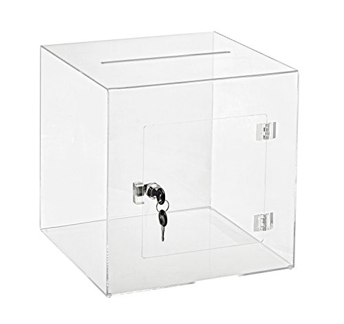 """AdirOffice 12"""" x 12"""" Acrylic Ballot Box Donation Box with Easy Open Rear Door - Durable Acrylic Box with Lock - Ideal for Voting, Charity & Suggestion Collection - Clear"""