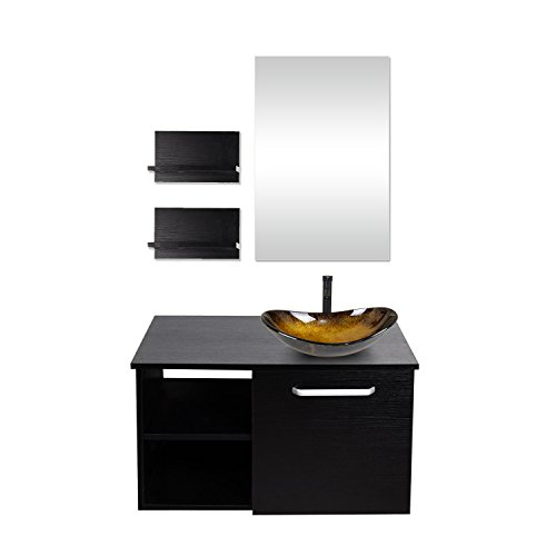 28-Inch Bathroom Vanity, Modern Lavatory Wall Mounted Wood Cabinet, with Mirror, Wood Black Fixture, Oval Tempered Glass Sink Top with Single Faucet Hole