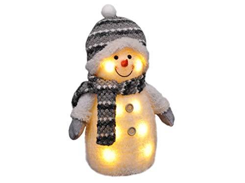 Gravidus - Süßer Schneemann mit Mütze, Schal & Handschuhen | Weihnachtsbeleuchtung, Weihnachtsfigur, LED-Weihnachtsdeko | Weihnachts-Innen-Fenster-Deko | Höhe ca. 33 cm