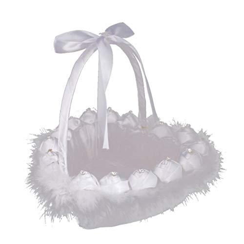 Amosfun weißer Hochzeitskorb des Satinhochzeitsblumenmädchen-Korbes für Brautparty-Parteibevorzugung
