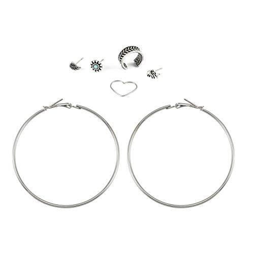 LWANFEI Herz Blatt Elefant Ohrringe Schmuck Set Vintage Trendy Boho Big Circle Ohr Manschette Ohrringe für Frauen