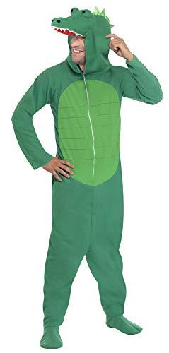 """Smiffys-23631L cocodrilo, Todo es un Solo Disfraz con Capucha, Color Verde, L-Tamaño 42""""-44"""" (Smiffy"""