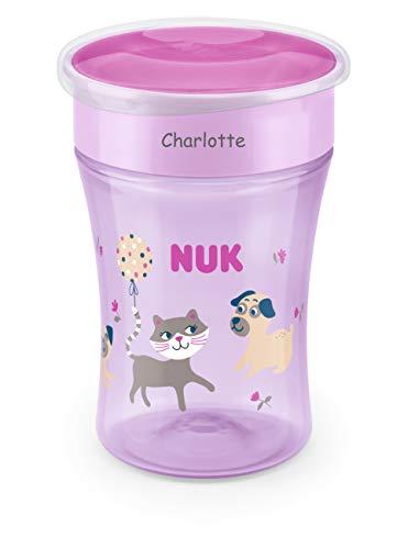 NUK Magic Cup Trinklernbecher mit persönlicher Gravur, auslaufsicherer 360°-Trinkrand, 8+ Monate, BPA-frei, 230 ml, Katze & Hund (violett)