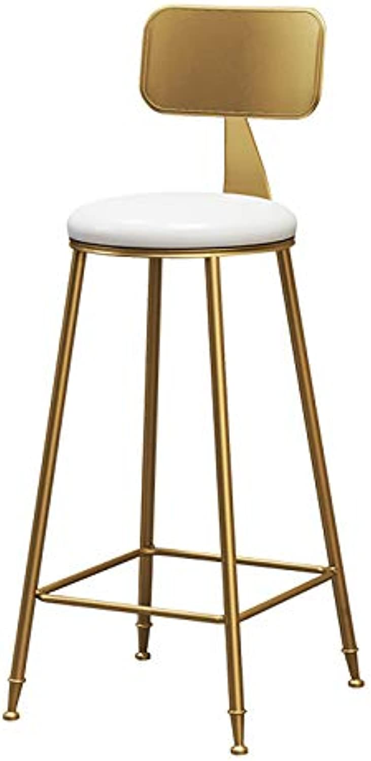 Barstools Upholstered Footrest with Backrest PU Round Seat Dining Chairs Breakfast Stool for Kitchen Restaurant Pub   Café Bar Counter Stool Max. Load 200kg gold Metal Legs