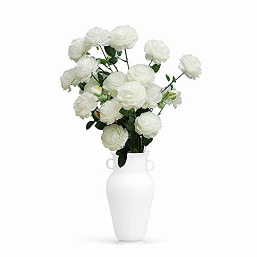 Uymaty Flores Artificiales,5PCS 3 Cabezas Flor de peonía Artificial Flor de Rosa de Seda Flor de plástico Falso para arreglos de Ramos de Boda,Fiesta en casa Decoración Interior al Aire Libre(Blanco)