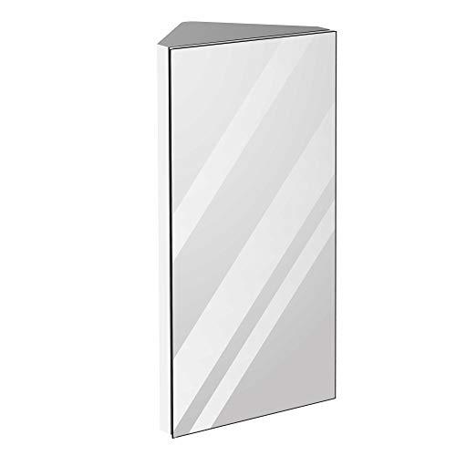 kleankin 12 Inch x 24 Inch Triangle Corner Mirror Medicine Cabinet Wall Mounted with Door 3 Shelves, Multipurpose Storage Organizer for Bathroom