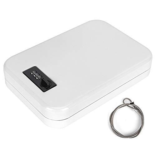 Voluxe Caja de Seguridad para el hogar, Esquinas compactas y Redondeadas Cerraduras de aleación de Zinc Caja de Almacenamiento de contraseña confiable, Flexible para Apartamentos,(White)