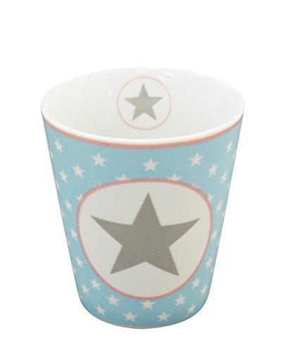 Krasilnikoff - Becher/Tasse/Kaffeetasse - Happy Mug - hellblau - großer Stern - Höhe 10 cm