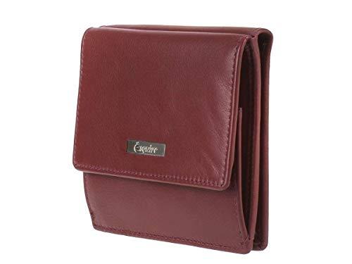 Esquire Geldbörse Senioren breite Kartenfächer großes Münzfach Notfallausweis Einkaufschip Leder rot Portemonnaie Geldbeutel