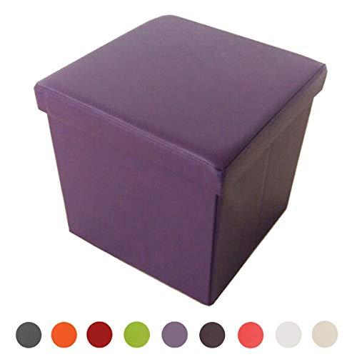 Style home Sitzbank Sitzhocker Aufbewahrungsbox mit Stauraum Faltbar belastbar bis 300 kg, Kunstleder, 38 x 38 x 38 cm (Lila)