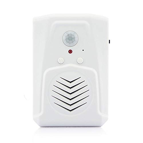 Infrared Motion Sensor Activated Sound Speaker Built with Microphone Recordable Voice for Shop Sale, Garage Door Alert, Greeting Visitor Door Chime, Security Reminder