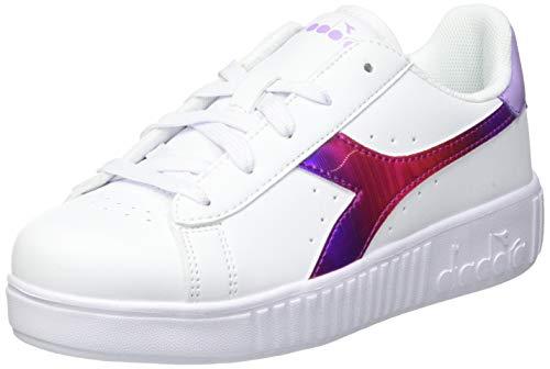 Diadora Game Step Rainbow PS, Zapatillas de Gimnasio para Niñas, White Lavendula, 29 EU