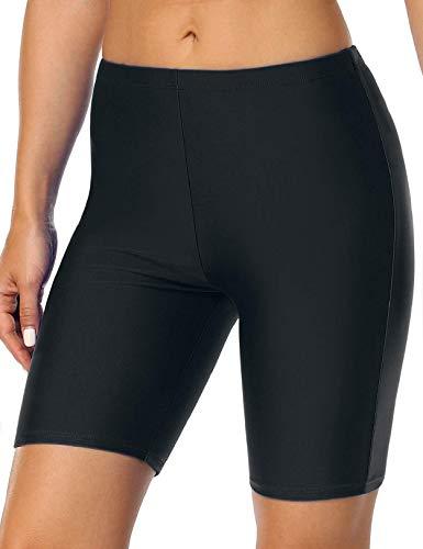 coastal rose Women's Swimsuit Bottom Swim Shorts UV UPF 50+ Bikini Bottom US16 Black
