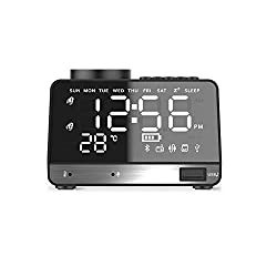 MKYUHP Alarm Clock Radio with Bluetooth Speaker,USB Charger,Dual Alarm,Snooze,AUX TF Card and Thermometer Battery Powered Mini Portable Digital Dimmer Clock Radio for Bedrooms Home and Kitchen