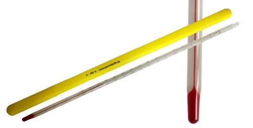 Termómetro con ojal, de 0 a 100° C (Termómetro de laboratorio), 15 cm